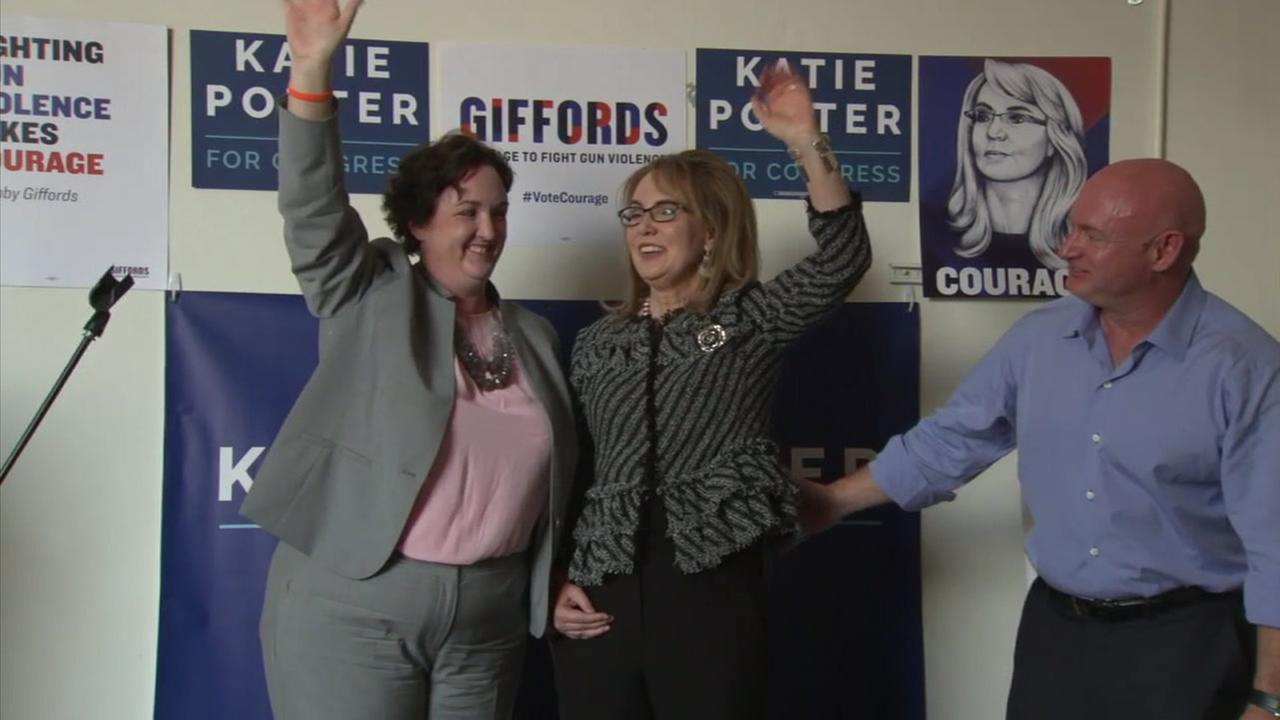 Former Arizona representative Gabby Giffords and her husband, retired astronaut Mark Kelly, attended a rally for Democratic congressional candidate Katie Porter, whose campaign focuses on ending gun violence.