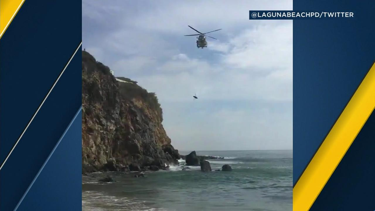 Video shows the rescue of a teenager whose arm was severed while trapped under a rock about 100 feet off shore of the Emerald Bay area of Laguna Beach on Wednesday, July 18, 2018.