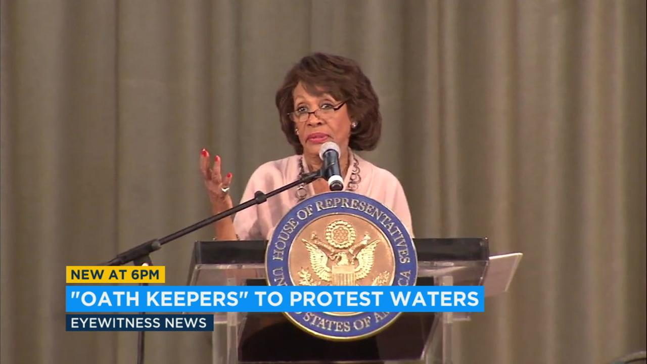The militia group Oath Keepers is planning a protest Thursday outside the Los Angeles offices of Congresswoman Maxine Waters.