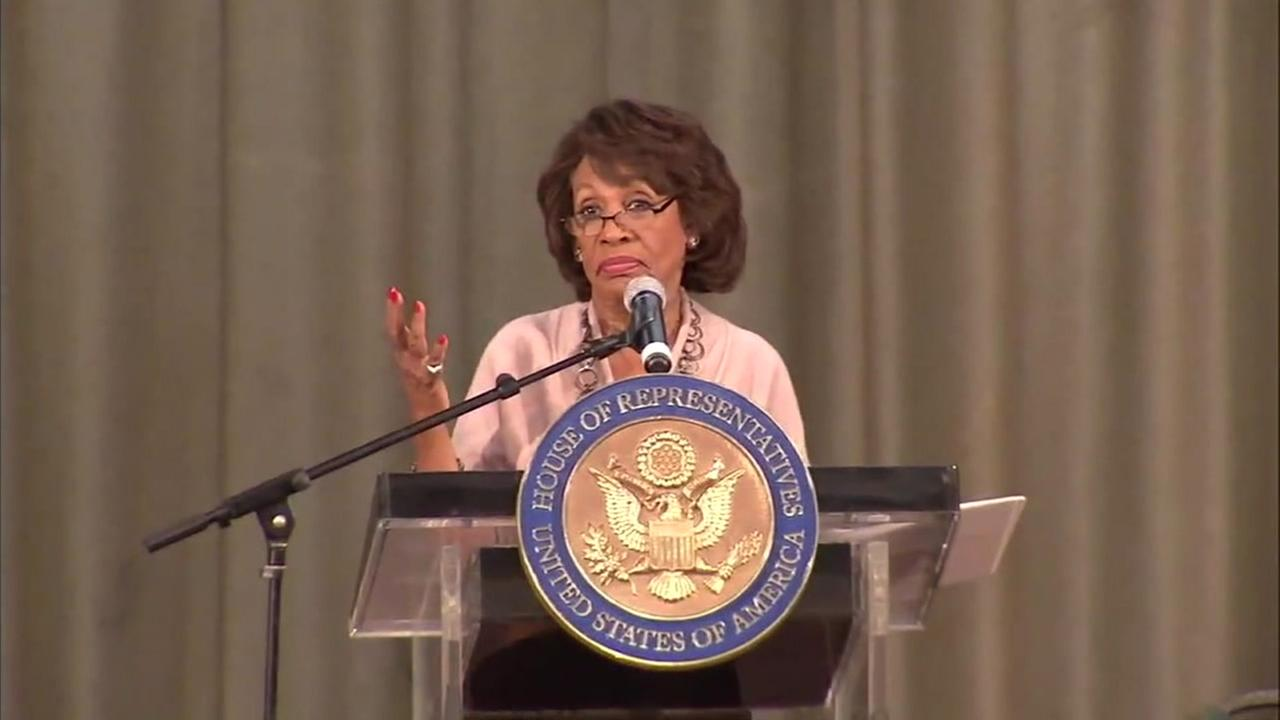 Congresswoman Maxine Waters is shown during a speech.