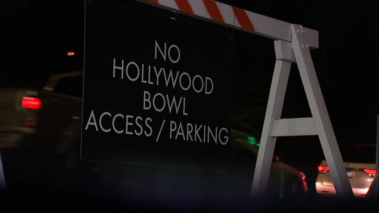A sign shows road closures during concerts at the Hollywood Bowl in the Hollywood Hills.