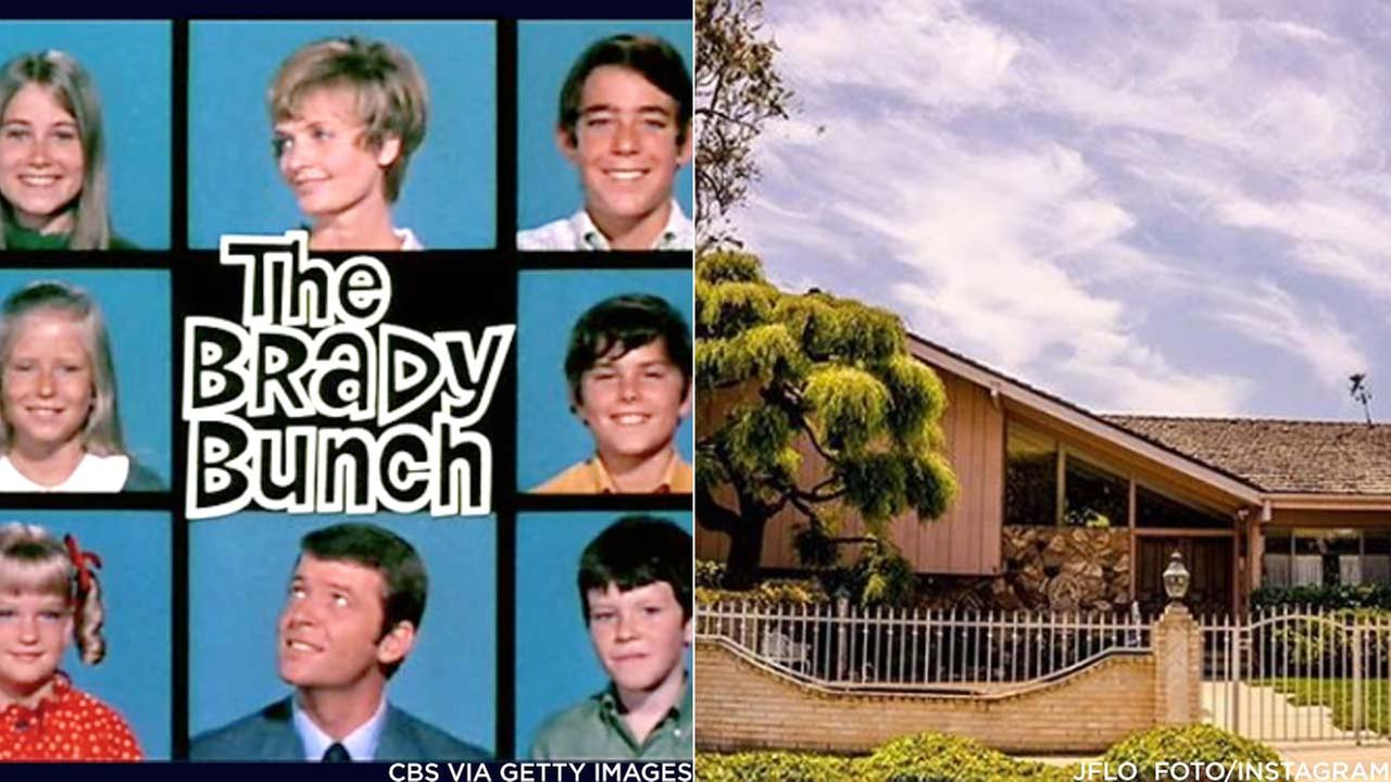 L: The opening title of The Brady Bunch. (Credit: CBS via Getty Images) R: The home featured in the opening/closing scenes of The Brady Bunch. (Credit: jflo_foto/Instagram)