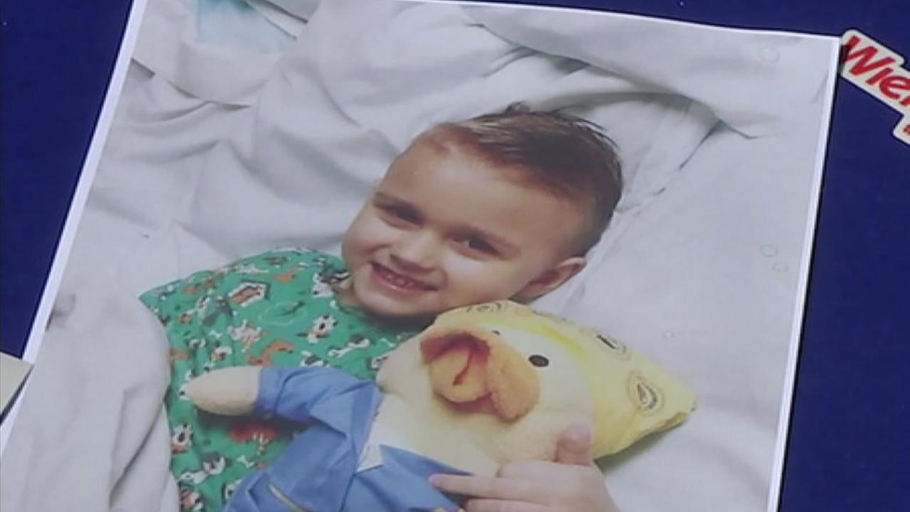 Jett Bologna, 4, is shown in a photo when he received treatment for his leukemia in the hospital.