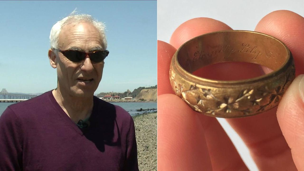 Richard Grassetti found a 1949 wedding ring on a beach in Richmond and is looking for the owner.