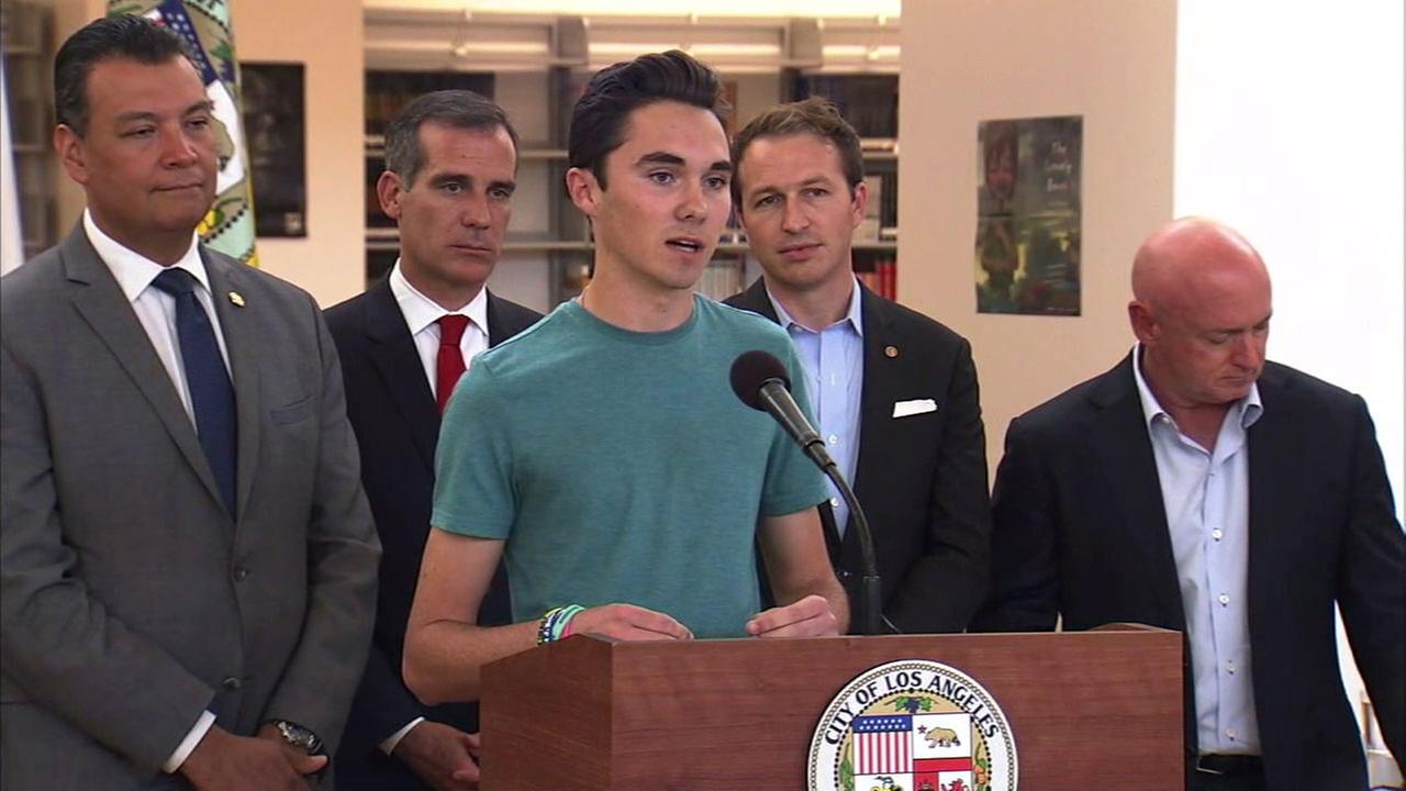 David Hogg is shown speaking during a March for Our Lives roundtable discussion on gun control and violence in Koreatown.