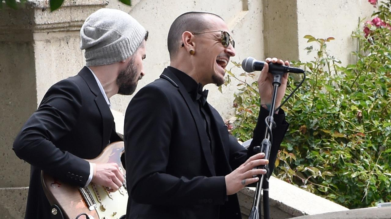 Chester Bennington, of Linkin Park, performs Hallelujah at a funeral for Chris Cornell at the Hollywood Forever Cemetery in Los Angeles.