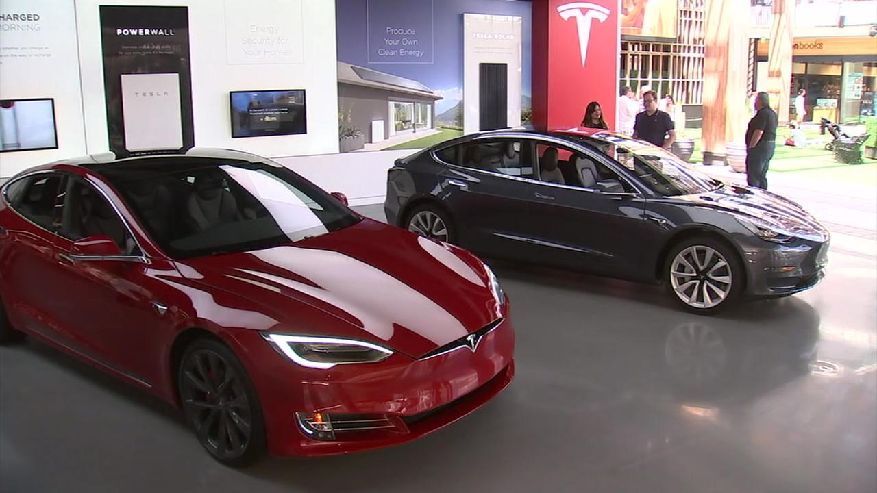 Two Tesla Model 3s are shown for a test drive in Century City.