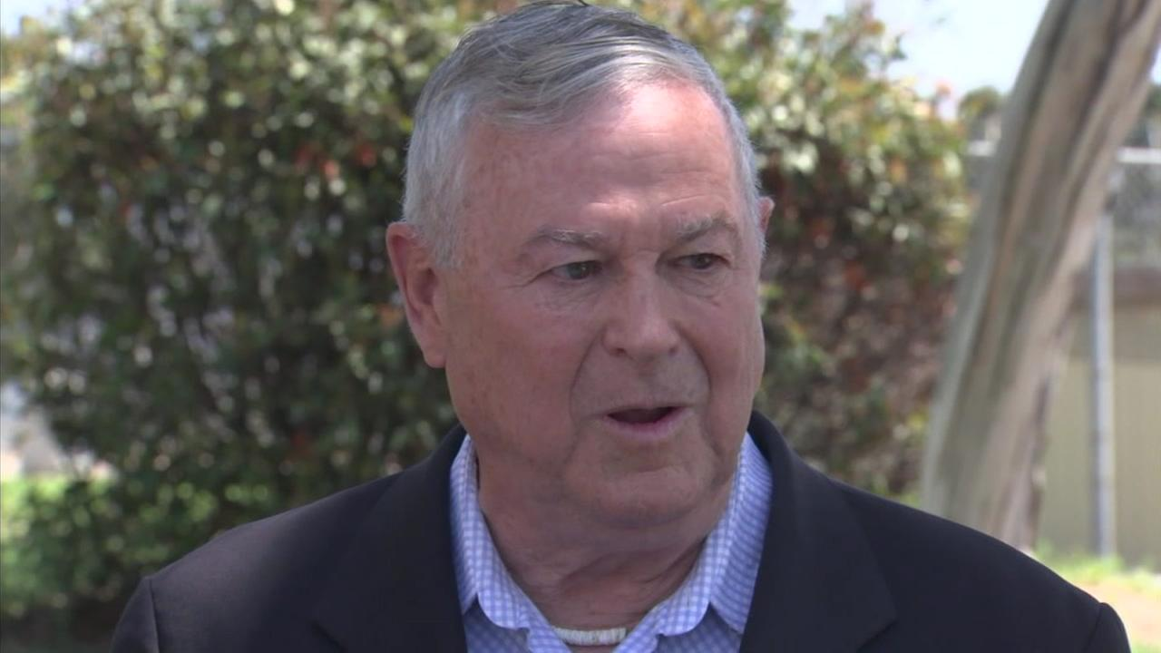 OC Congressman Dana Rohrabacher is shown during a press conference after he visited an ICE detention center in Irvine.