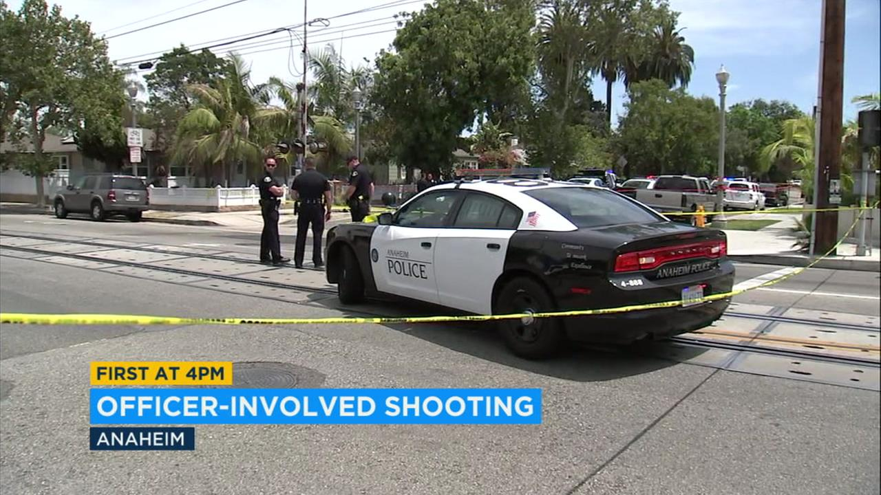 The scene of an officer-involved shooting in Anaheim on Saturday, July 21, 2018.