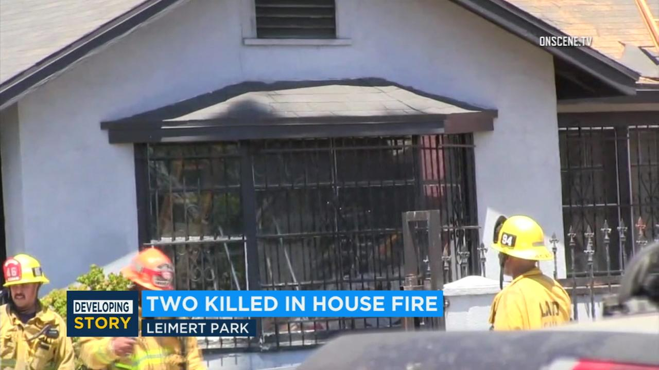 Two members of a family were killed in a fire that destroyed a Leimert Park home on Sunday.