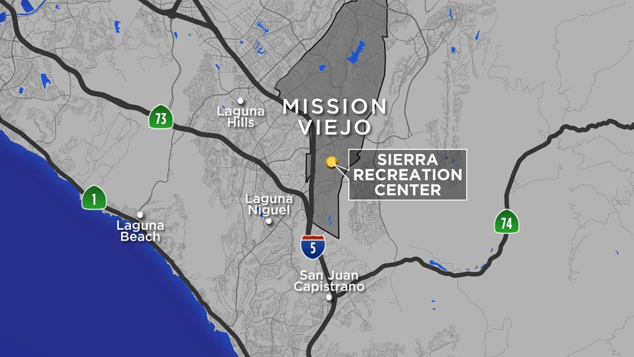 A map shows the location of the Sierra Recreation Center in Mission Viejo, where a 1-year-old drowned on Sunday, July 22, 2018.