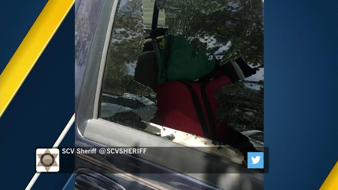 Deputies broke a car window to save a dog that was left inside a hot car with no air conditioning and no water.