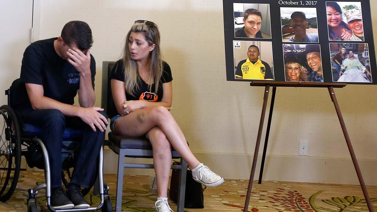 Jason McMillan, 36, a Riverside County Sheriffs deputy who was shot and paralyzed in the Las Vegas shooting, speaks about the massacre at a news conference Monday, July 23, 2018.