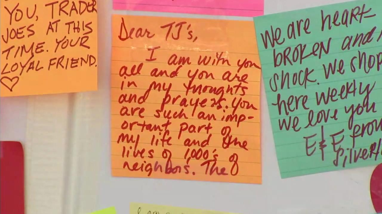 Community members are leaving notes of sympathy at the Trader Joes in Silver Lake where a store manager was killed.
