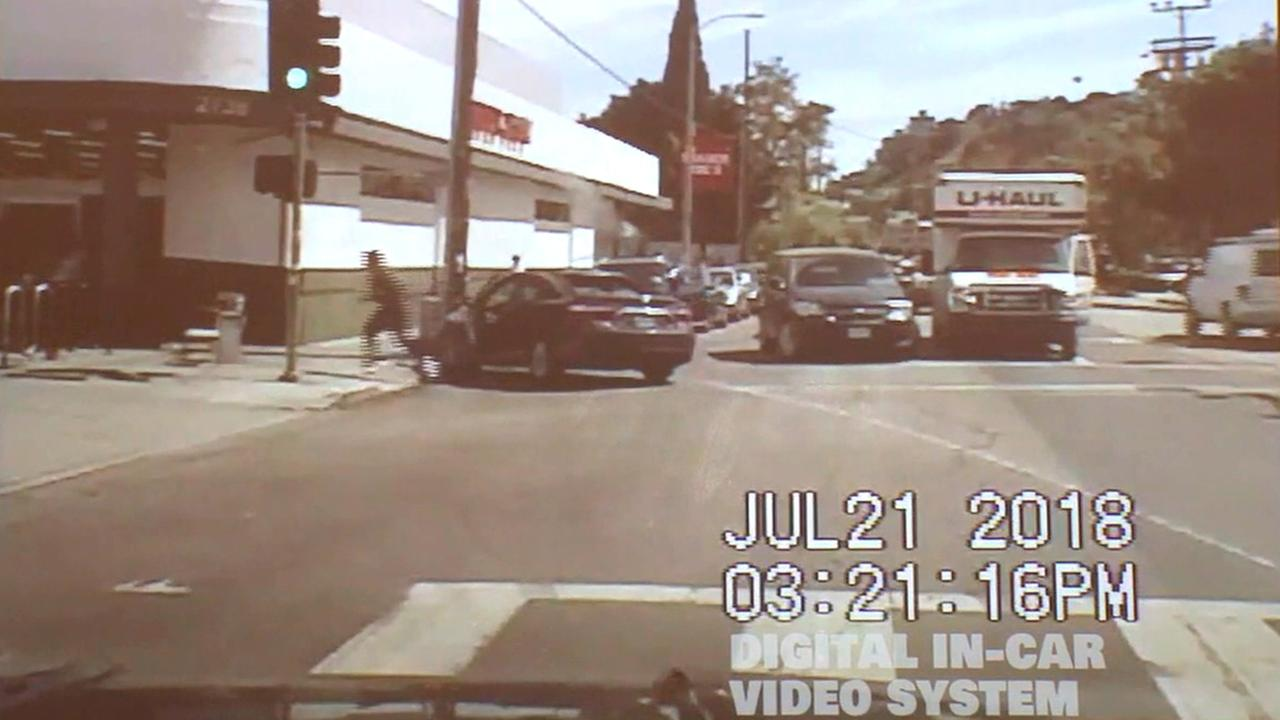 Dashcam footage released by the LAPD shows a police chase that preceded a standoff at a Trader Joes store in Silver Lake on Saturday, July 21, 2018.