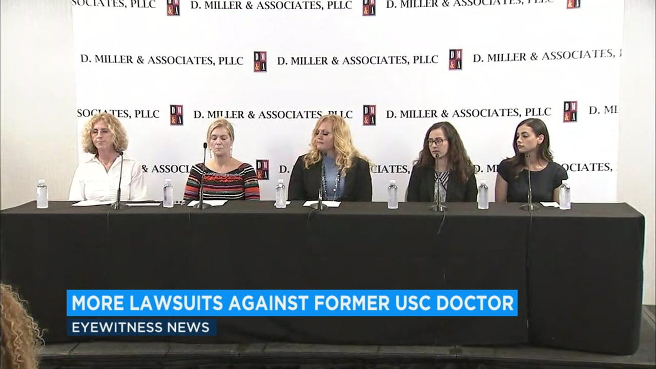 Several alleged victims of a USC gynecologist speak out on Monday, July 23, 2018.