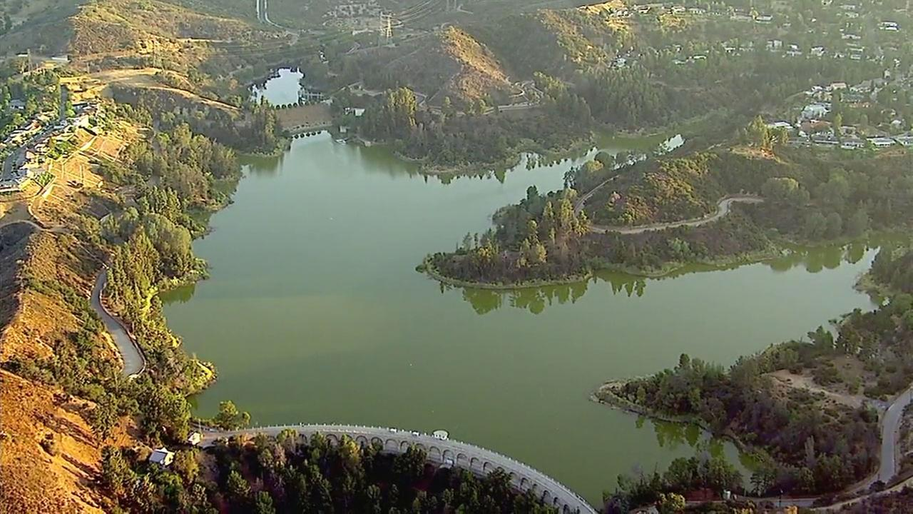 The water at the Hollywood Reservoir appeared to be green in footage captured from AIR7 HD.