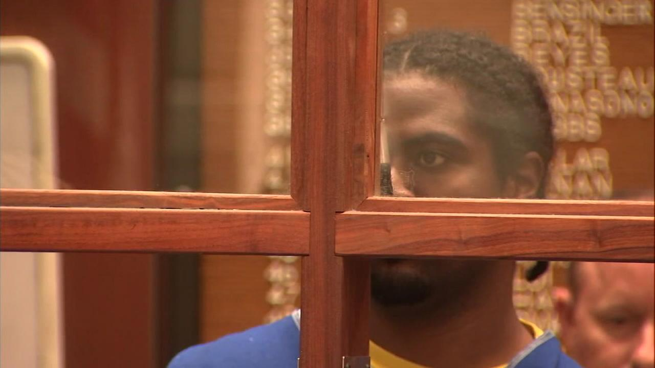 Gene Evin Atkins, 28, is shown during his first court appearance over the deadly Trader Joes hostage situation.