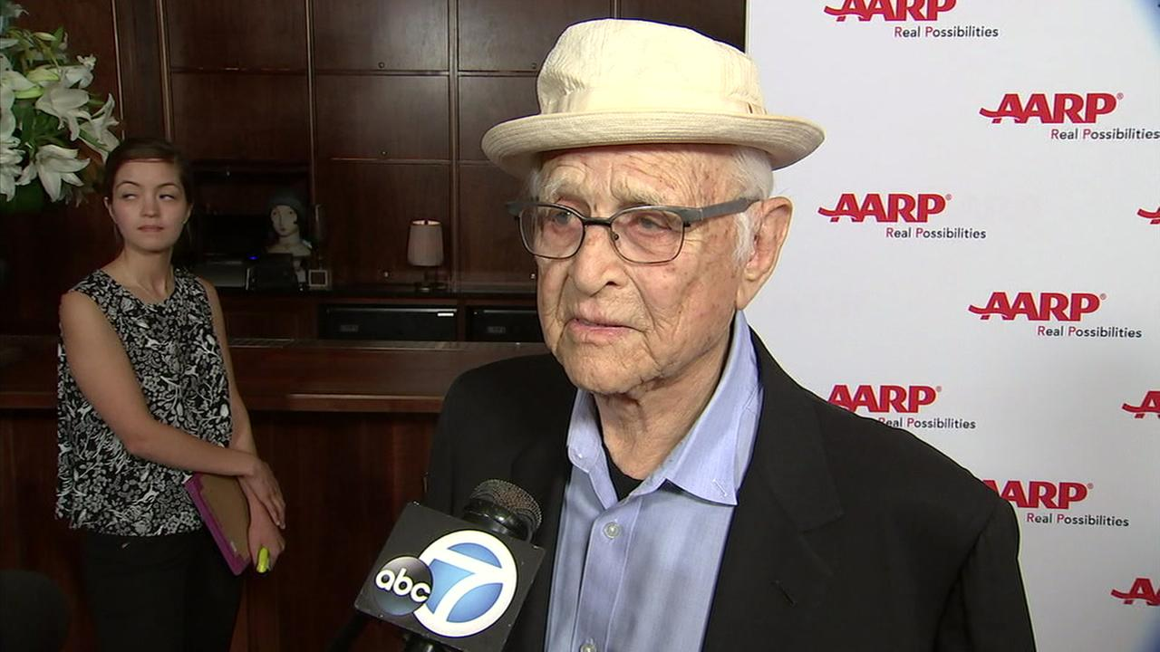 Television icon Norman Lear is shown during an interview when he received an award from AARP in West Hollywood on Tuesday, July 25, 2018.