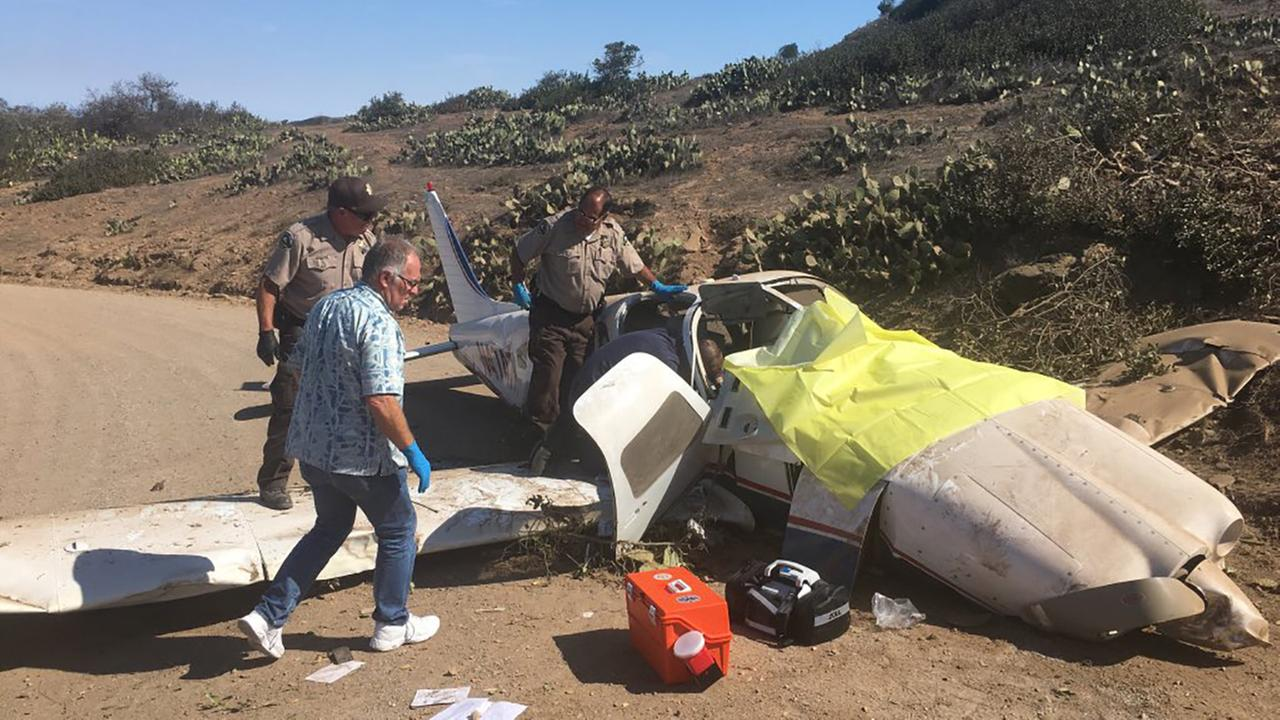 Three people were critically injured when a small airplane went off the end of a runway after landing on Catalina Island.