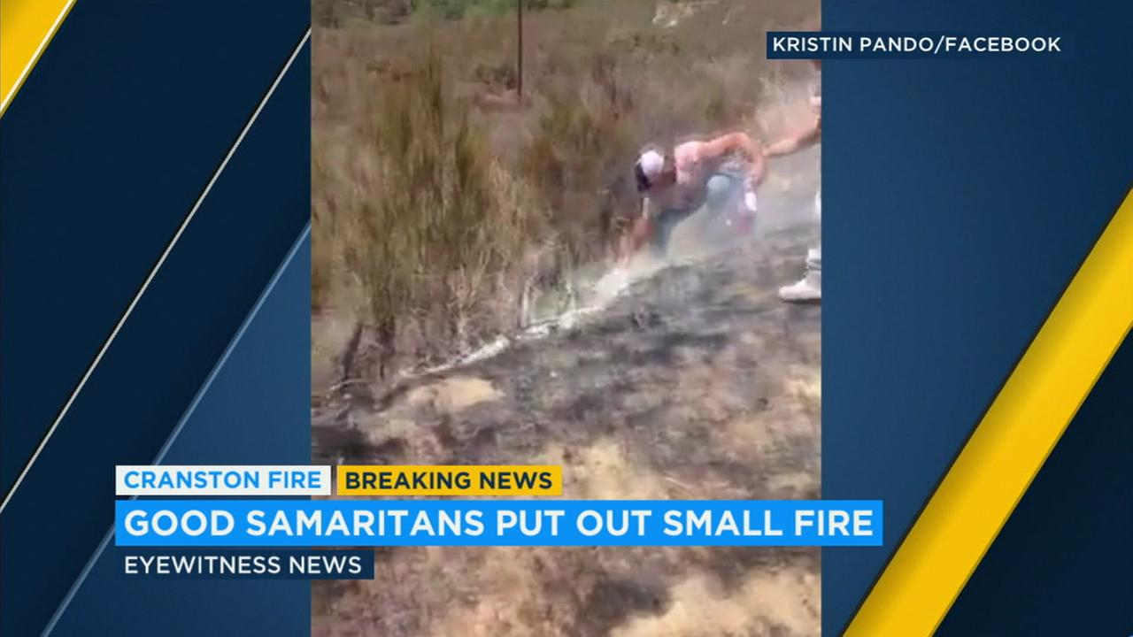 Good Samaritans went into action and put out one of the fires possibly set by a man accused of starting the destructive Cranston Fire in Riverside County.