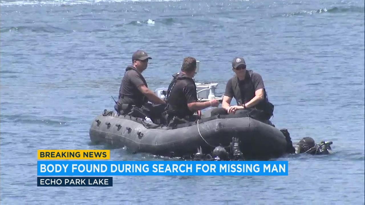 The body of a 23-year-old man was recovered in Echo Park Lake after his boat capsized early in the morning.