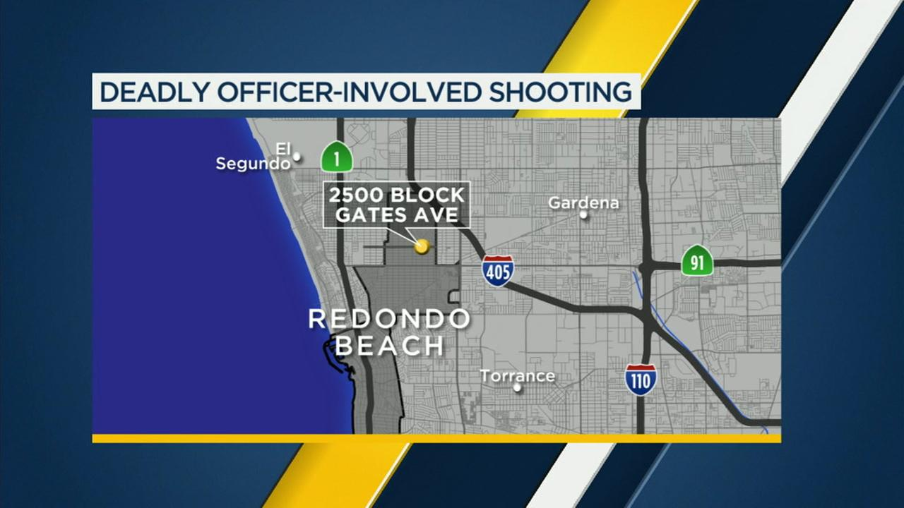 A map shows the area where an officer-involved shooting left a man with an airsoft gun dead in Redondo Beach on Thursday, July 26, 2018.