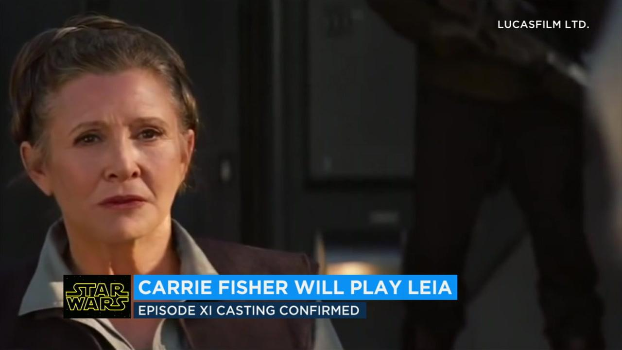 The late Carrie Fisher will play Leia Organa once again in the ninth Star Wars film slated to premiere next year.