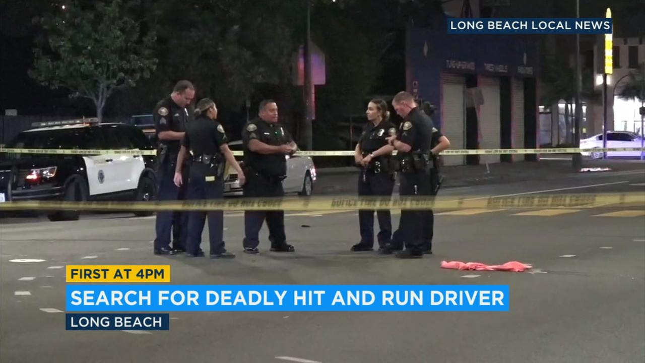Police investigate a deadly hit-and-run crash in Long Beach on Friday, July 27, 2018.