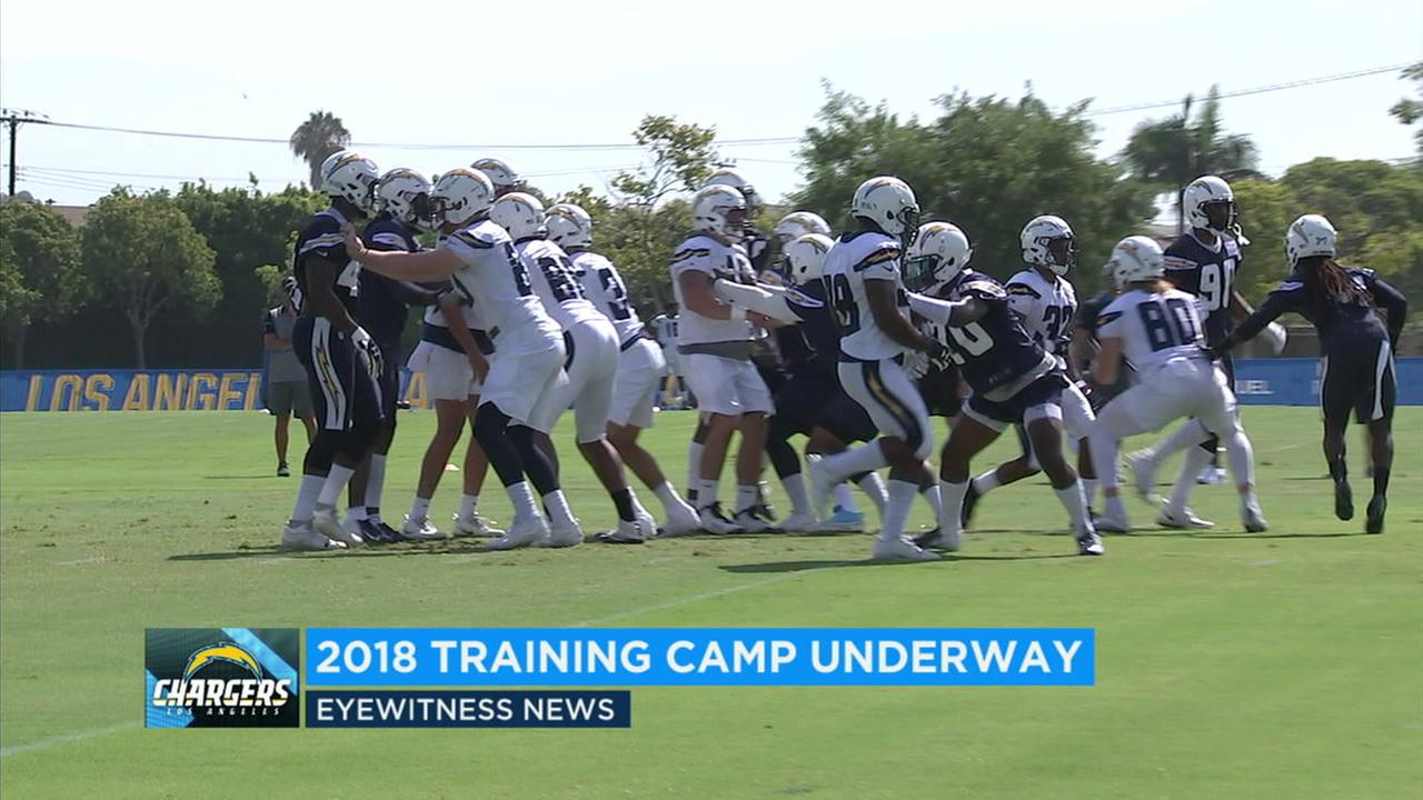 Los Angeles Chargers players seen practicing on Monday, July 30, 2018.