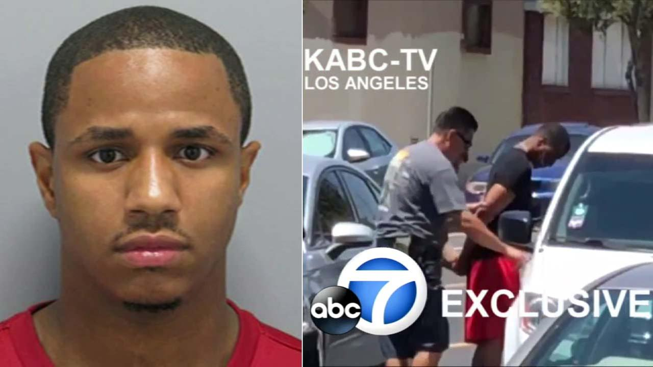 (R) Exclusive video shows a New York City murder suspect being placed into a law enforcement car after being arrested in North Hollywood. (L) Danueal Drayton booking photo.