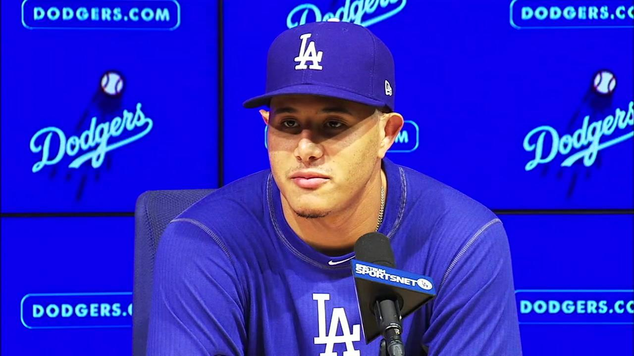 Infield superstar Manny Machado is shown in a photo during a press conference before his first game at Dodger Stadium.