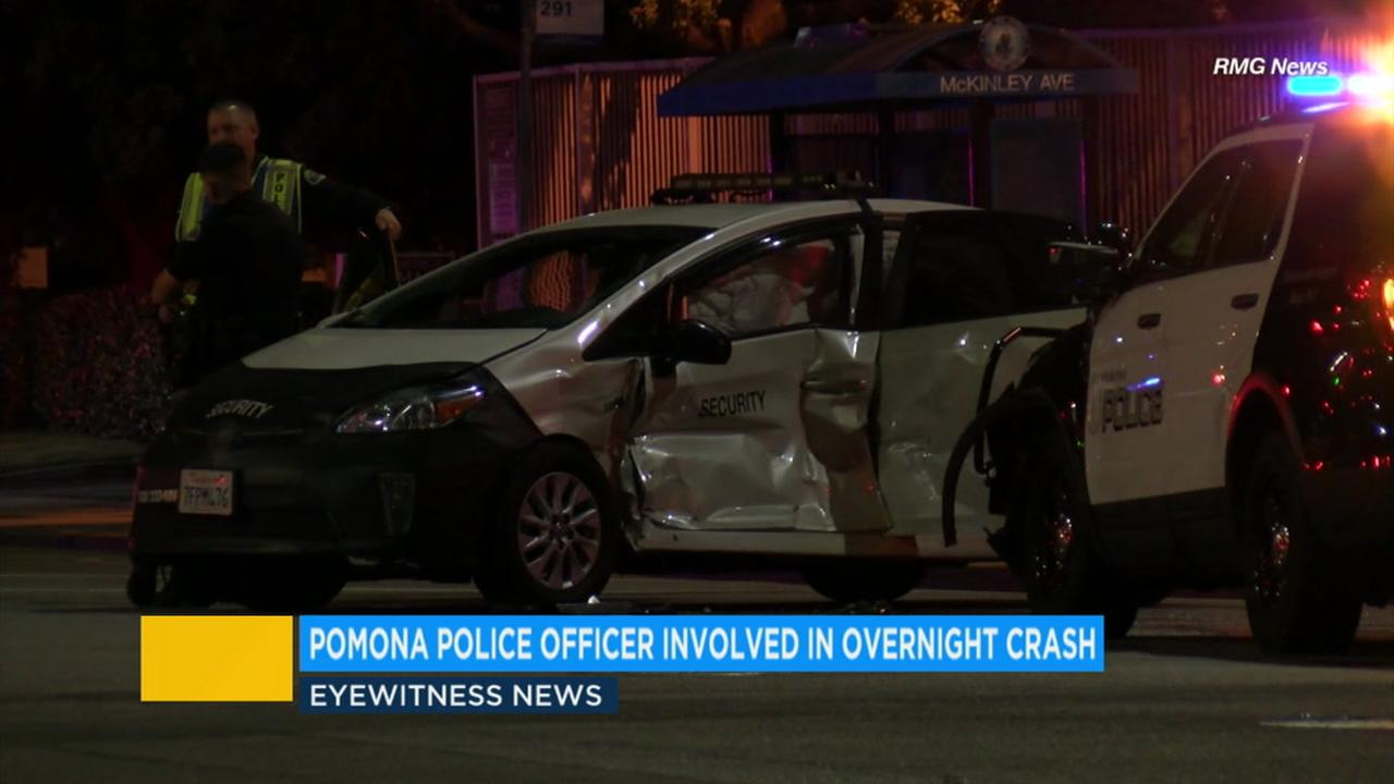 An officer crashed his police cruiser into a civilian vehicle in Pomona Monday night, and the cause of the crash is unknown.