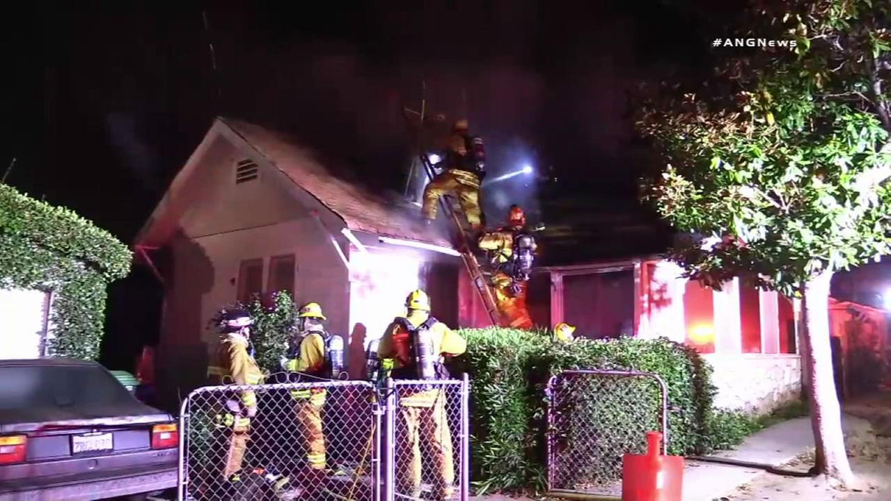 Firefighters knock down a house fire in Venice that left a 73-year-old woman dead.