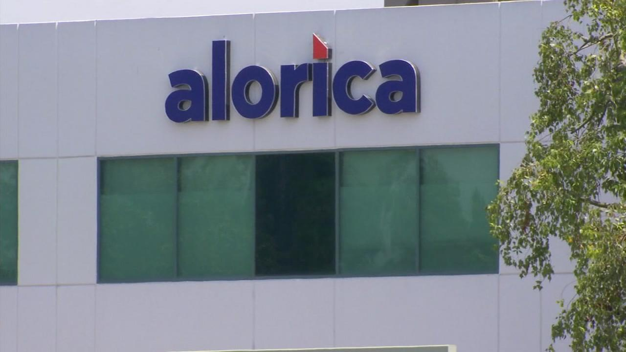The sign for the Alorica building is shown at one of its call centers in Central California.