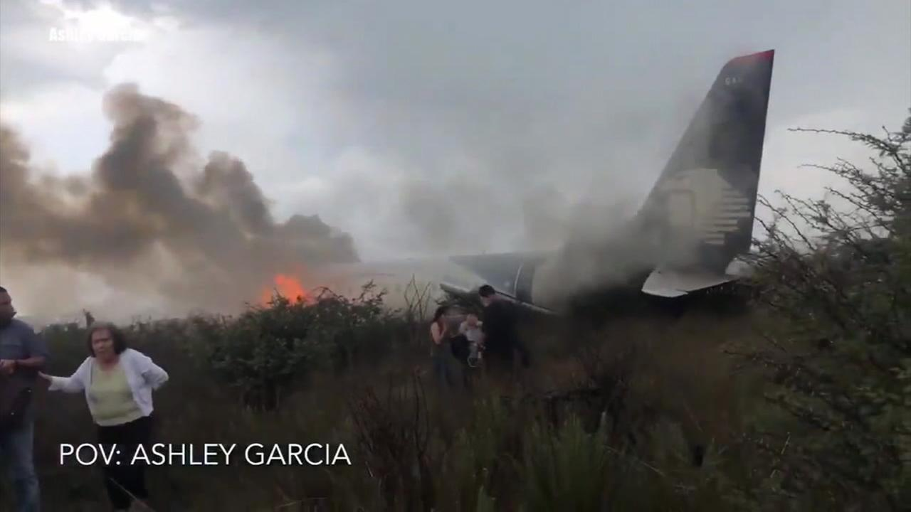 Footage from a cellphone shows the wreckage of an Aeromexico plane after it crashed shortly after takeoff in Durango, Mexico.