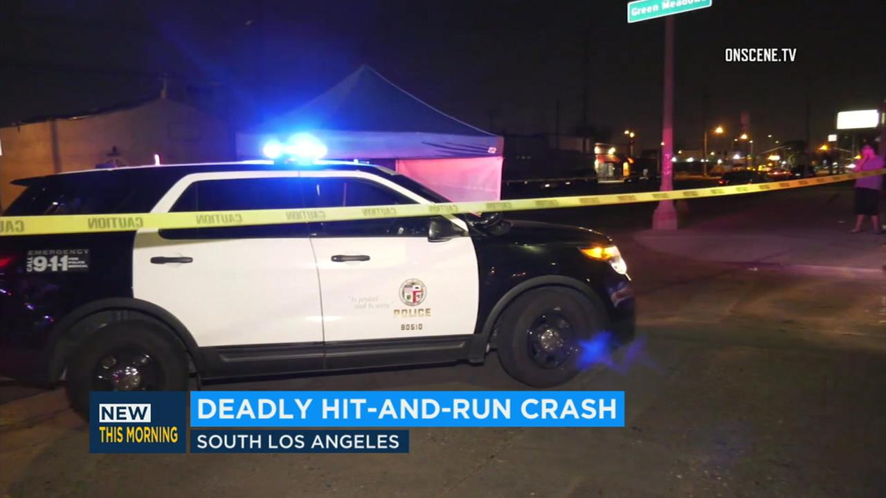The scene of a deadly hit-and-run crash in South Los Angeles on Thursday, Aug. 2, 2018.