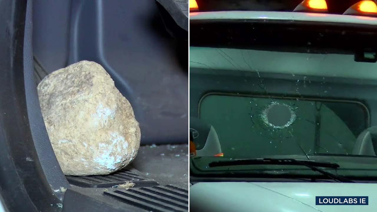 Four vehicles, including a tanker truck, were struck by rocks on the 91 Freeway in Corona.