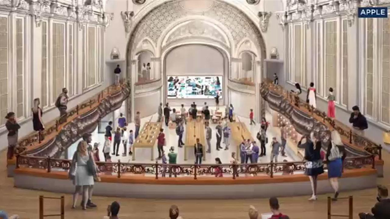 Renderings show what the inside of the Tower Theatre will look like once it becomes an Apple store.