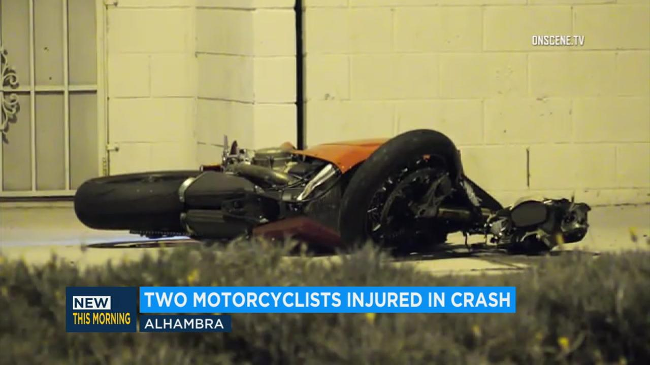 One of two motorcycles involved in a crash in Alhambra is seen on its side.
