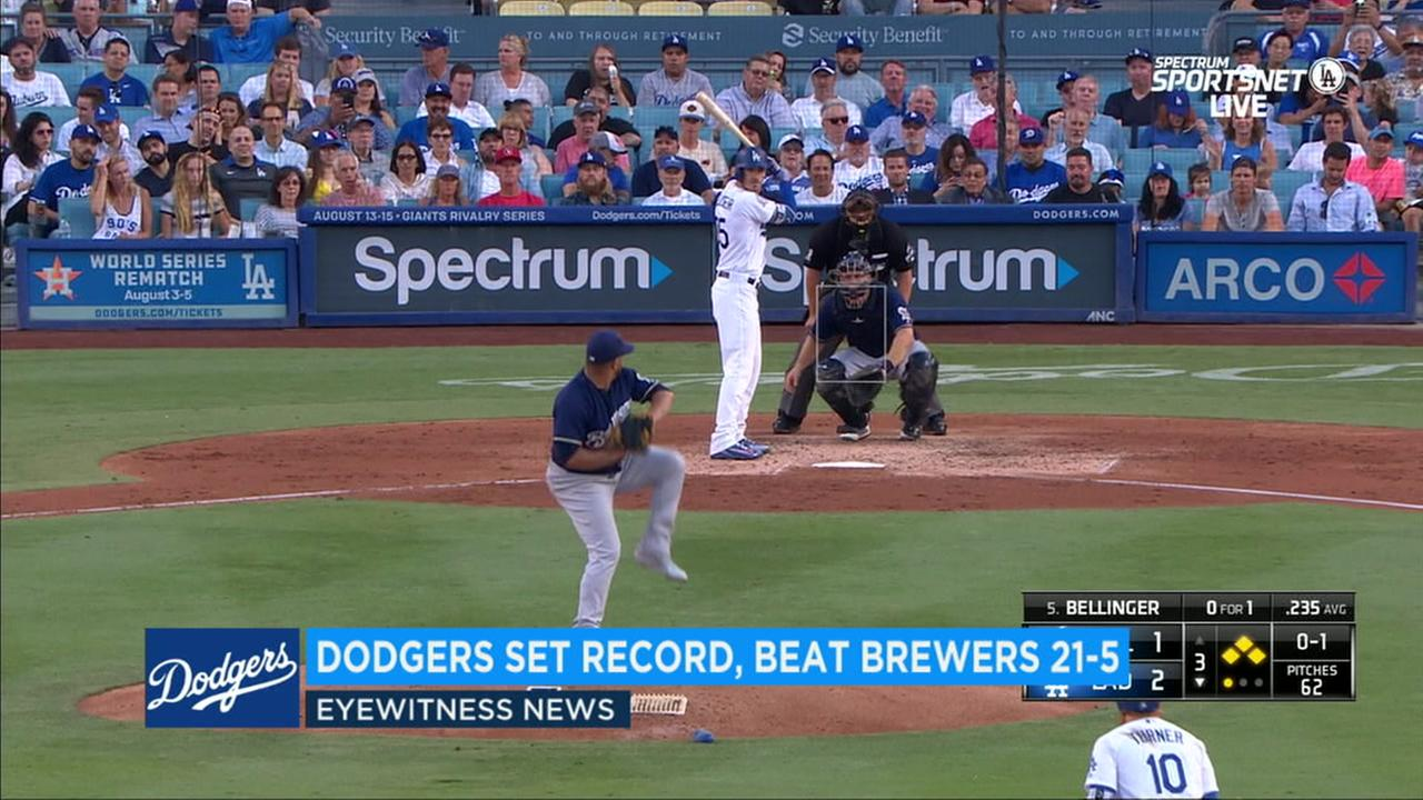 The Dodgers 21 runs against the Milwaukee Brewers on Thursday set a record for most runs scored in Dodger Stadium history.