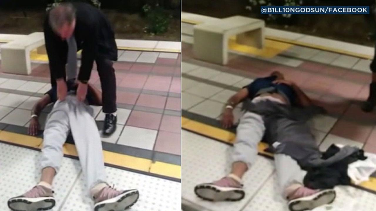 A video shows an unconscious man on the Wardlow Station platform in Long Beach after another man apparently dragged him off a train.