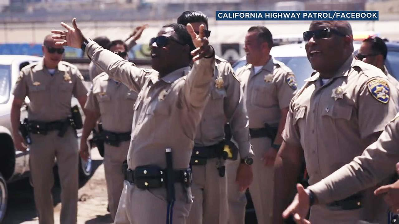California Highway Patrol officers perform in a lip syn challenge music video.
