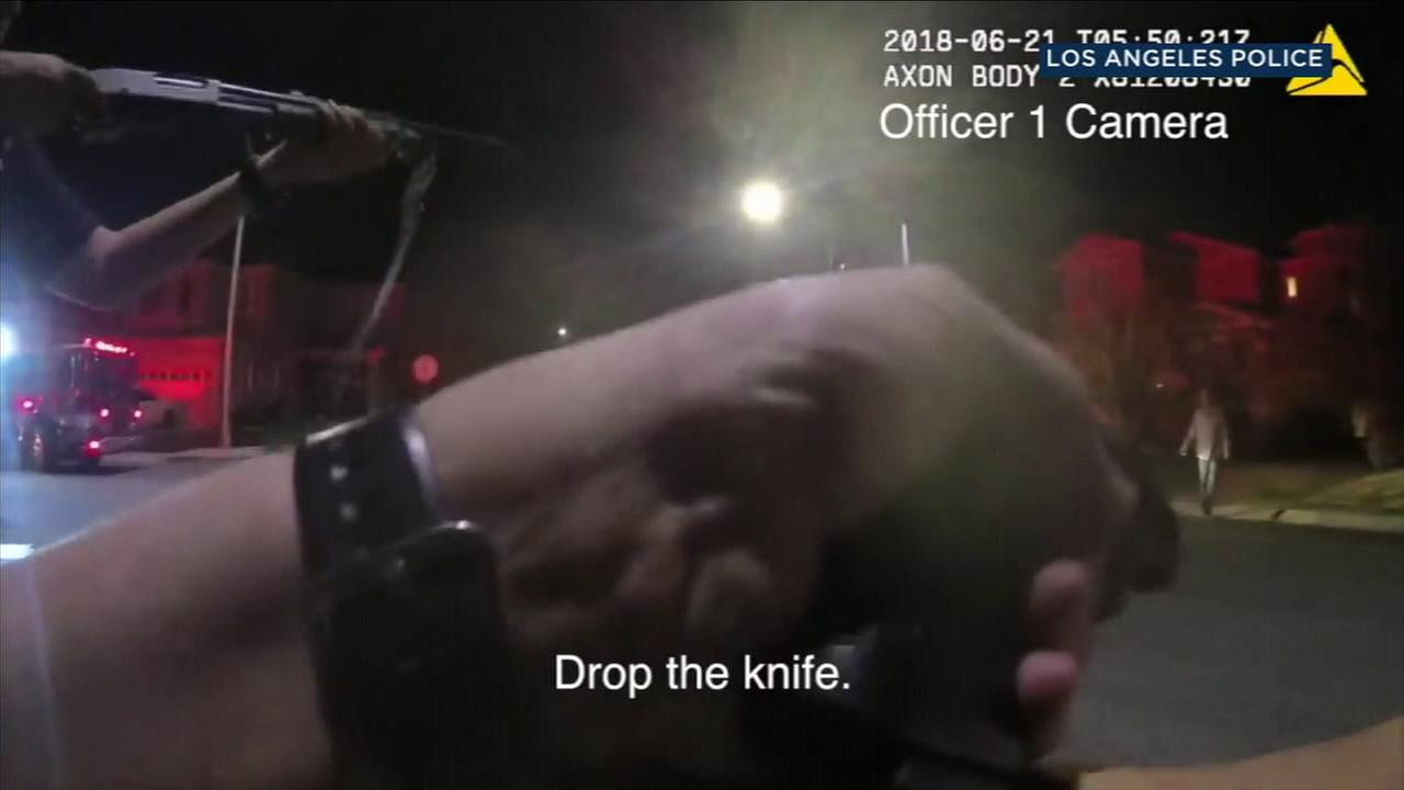 The Los Angeles Police Department released body camera footage that shows an incident in which officers shot and wounded a man suspected of stabbing his ex-wife in Porter Ranch.