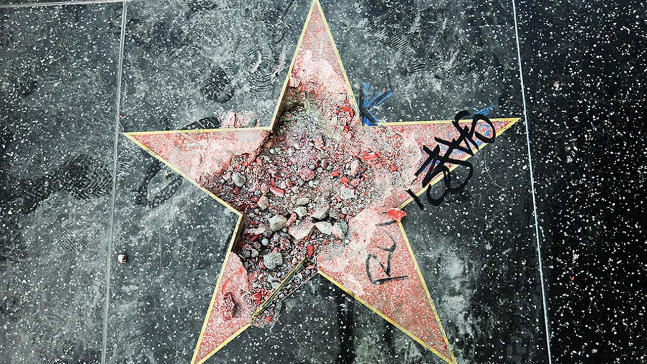 This photo shows Donald Trumps star on the Hollywood Walk of Fame that was vandalized Wednesday, July 25, 2018, in Los Angeles.