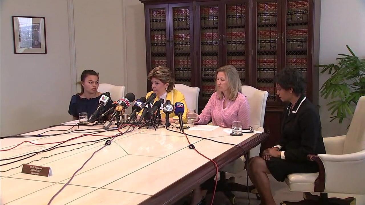 Three of 12 women in a new lawsuit against USC and its former gynecologist are shown during a press conference.