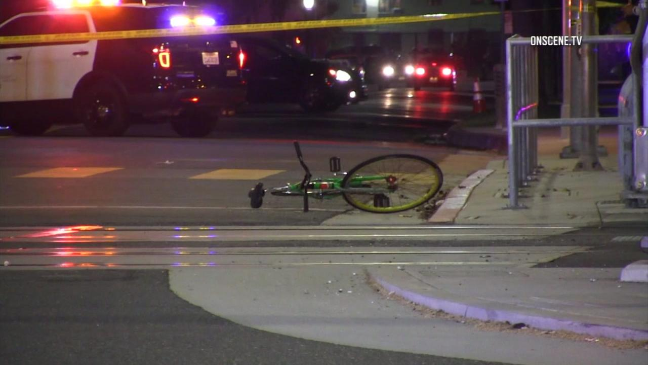 A bicycle a pedestrian was riding before he or she was struck by a vehicle during a car-to-car shooting is shown in a photo.