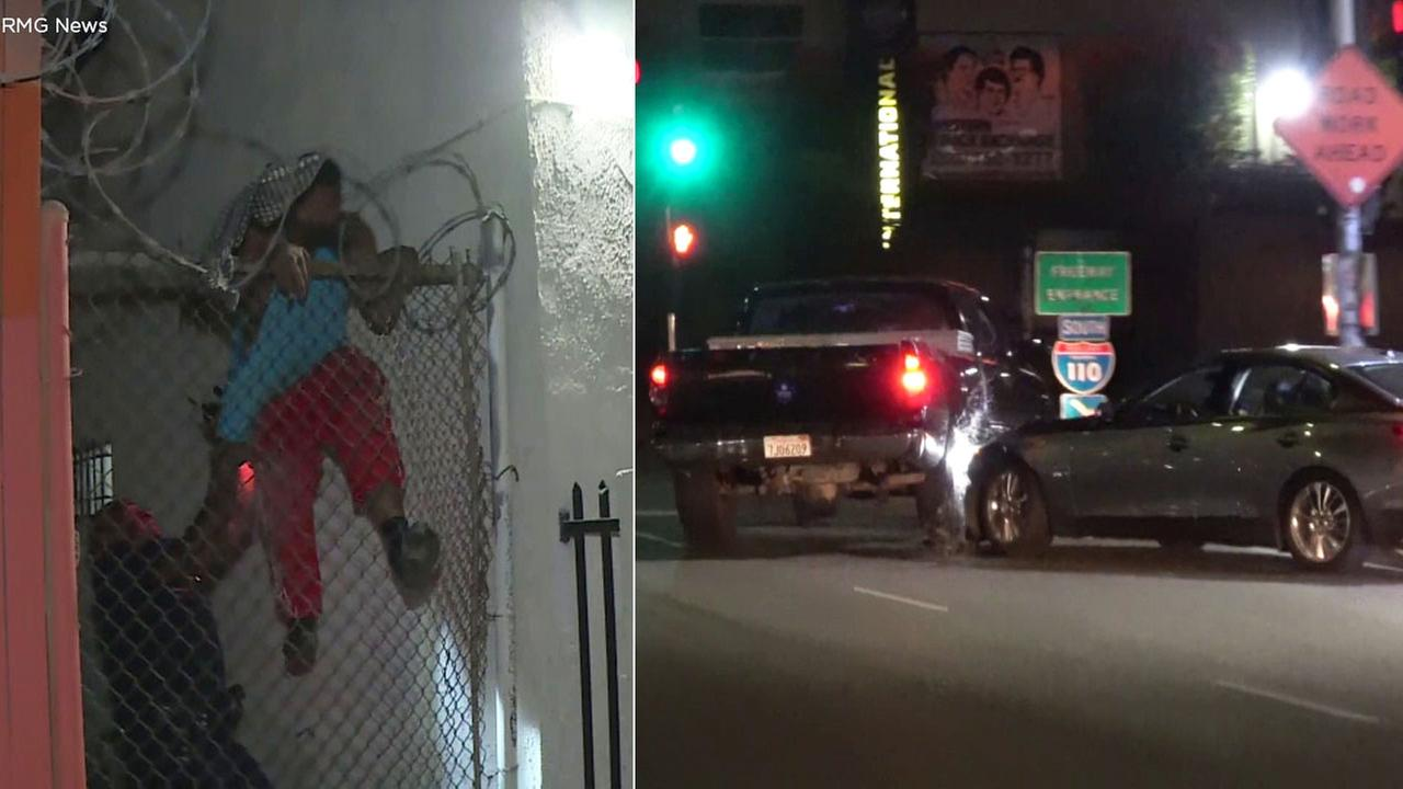 A suspected car thief is under arrest after leading authorities on a wild chase that was caught on camera in South Los Angeles.
