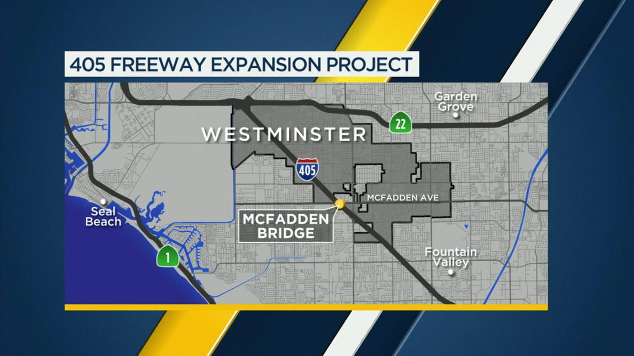 A map shows where construction was done for the McFadden Bridge.