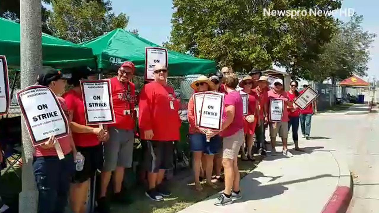Teachers in Banning are outside of a school protesting the addition of instructional hours.